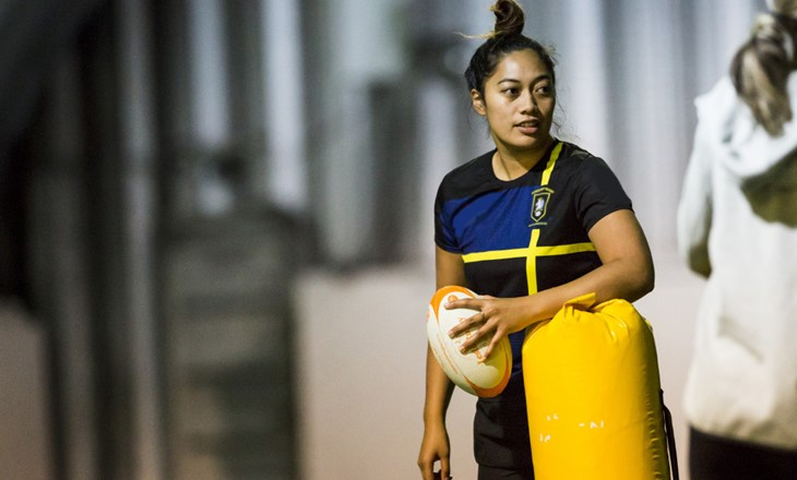 Woman at rugby practice
